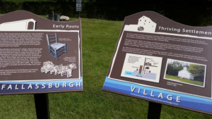 New interpretive markers at the Fallasburg village.