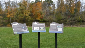 Interpretive signs before the Covered Bridge.