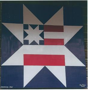 Quilts American star at the Freeport museum.