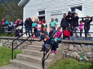 In front of the Fallasburg schoolhouse museum.