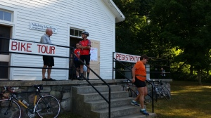 Bikers register at the schoolhouse.